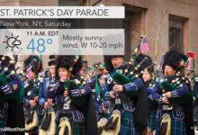 """صورة توقعات الطقس في نيويورك سيتي تزامنا مع احتفالات """"سانت باتريك"""""""