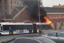 صورة احتراق أتوبيس نقل عام في برونكس بنيويورك (فيديو)