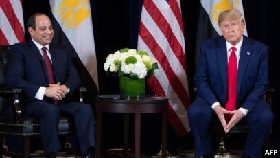صورة ترامب والسيسي يعلقان على الاحتجاجات في مصر خلال لقائهما