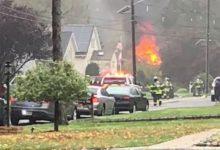 صورة اندلاع النار في عدد من المنازل بحي سكني في نيوجيرسي إثر تحطم طائرة