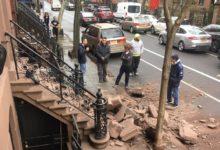 صورة انهيار جزء من واجهة مبنى تاريخي في مانهاتن