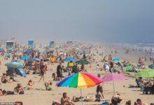 صورة توافد المئات على شاطئ هنتنغتون بمقاطعة أورانج فى كاليفورنيا (فيديو وصور)