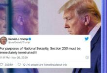 صورة ترامب يطالب بالإلغاء الفوري للمادة 230 من القانون الأمريكي