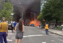 صورة بالفيديو.. حريق هائل يلتهم 3 سيارات في نيويورك